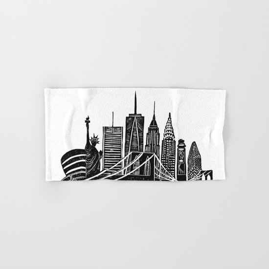 Linocut New York Hand & Bath Towel