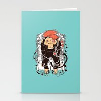 hiphop Stationery Cards featuring Rocket Monkeys by Steven Toang