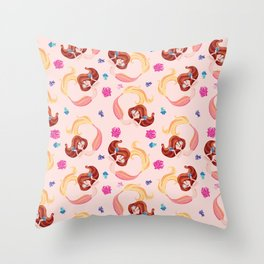 Little coral mermaid pattern. Throw Pillow