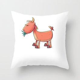 Goat Cartoon Eating Grass Throw Pillow