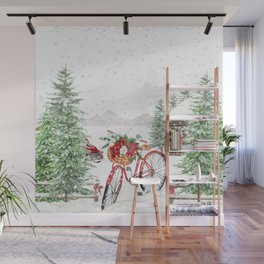 Winter Bicycle Wall Mural