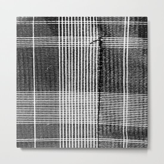Stitched Plaid in Black and White Metal Print