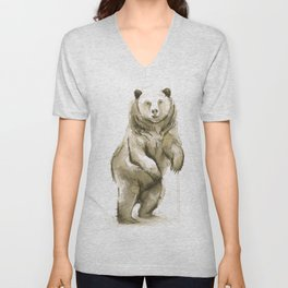 Bear Watercolor Animal Unisex V-Neck