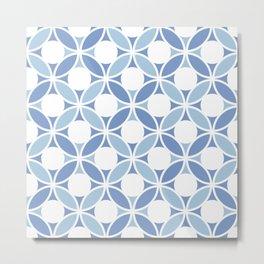 Geometric Orbital Spot Circles In Pastel Blues & White Metal Print