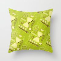 pasta Throw Pillows featuring Pasta Pattern by Zoe Lotus