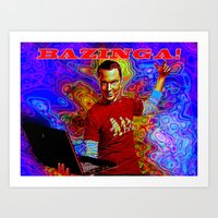 bazinga Art Prints featuring Bazinga Sheldon! by JT Digital Art