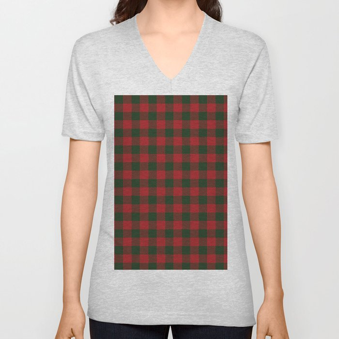 90's Buffalo Check Plaid in Christmas Red and Green Unisex V-Neck