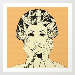 The woman with the curlers Art Print