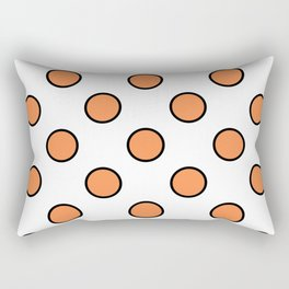Geometric Orbital Candy Dot Circles - Citrus Orange & Black on White Rectangular Pillow