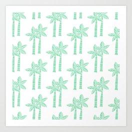 Palm Tree Pattern Mint Green 3 Art Print