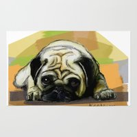 pug Area & Throw Rugs featuring Pug by Michelle Behar