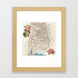 Alabama map with Camelias Framed Art Print