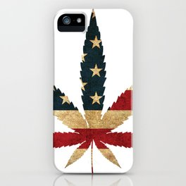 Cannabis leaf grass USA flag potholder gift iPhone Case