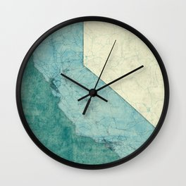 California State Map Blue Vintage Wall Clock