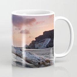 Half Moon Beach. Red sky Coffee Mug