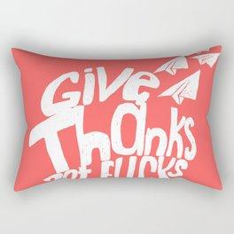Give Thanks White Doodle Rectangular Pillow