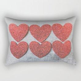 Red Glitter Sparkles Hearts Rectangular Pillow