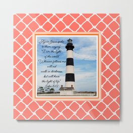 Bodie Island Lighthouse-N.C. Featuring John 8-12 Passage -on Living Coral-Nautical Design Metal Print