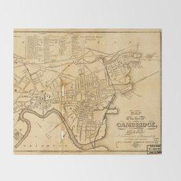 Map of Cambridge, Massachusetts (1857) Throw Blanket