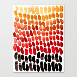Colorful Primitive Pattern Watercolor Scales Abstract Desert Orange Yellow Ochre Canvas Print