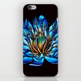 Multi Eyed Blue Water Lily Flower iPhone Skin
