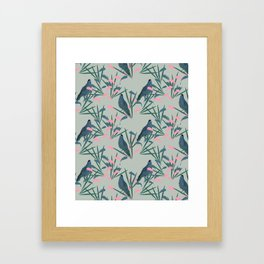Kokako Wallpaper Pattern Framed Art Print