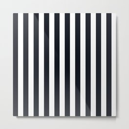 Vertical Stripes Black & White Metal Print