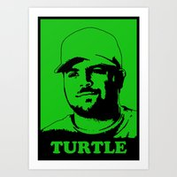 entourage Art Prints featuring Entourage - Turtle by StriveArt