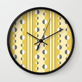 Circles and Stripes in Mustard Yellow and Gray Wall Clock
