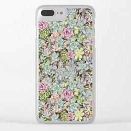 Succulent Pastel Clear iPhone Case