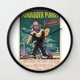 Vintage Classic Movie Posters, Forbidden Planet Wall Clock
