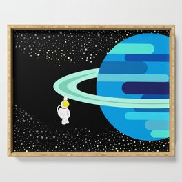 Space Odyssey   Astronaut & Planet   Space   Saturn   Galaxy   pulps of wood Serving Tray