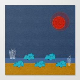 Hippo Parade Canvas Print