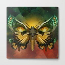 """Dark butterflies flying over a sky of fire"" Metal Print"
