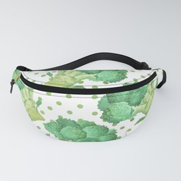Broccoli on Green dotted Background Fanny Pack