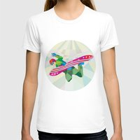 snowboard T-shirts featuring Snowboarder Snowboard Jumping Low Polygon by patrimonio