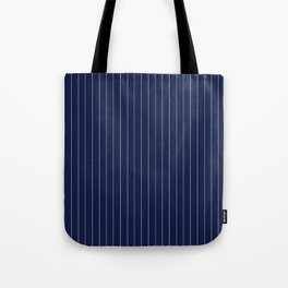 Navy Blue Pinstripes Line Tote Bag