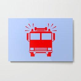 fire truck illustration Metal Print
