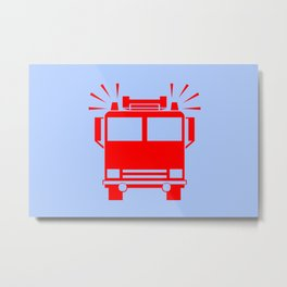fire truck illustration Metal Print