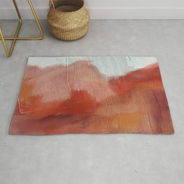 Desert Journey [2]: a textured, abstract piece in pinks, reds, and white by Alyssa Hamilton Art Rug