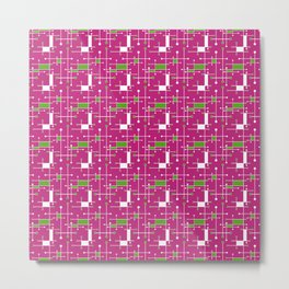 Modern Intersecting Lines in Pink, Lime and White Metal Print