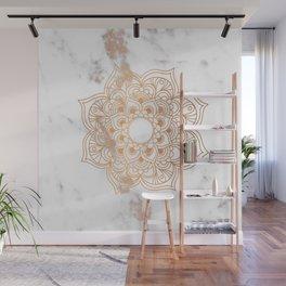 Copper flower mandala - marble Wall Mural