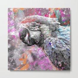 artsy parrot mixed media art Metal Print