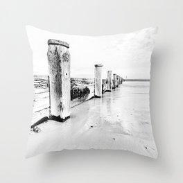 sea defence Redcar Throw Pillow