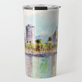 Long Beach Coastline Reflections Travel Mug