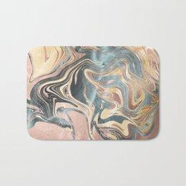 Liquid Gold and Rose Gold Marble Bath Mat