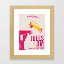 Jules et Jim, François Truffaut, minimal movie Poster, Jeanne Moreau, french film, nouvelle vague Framed Art Print