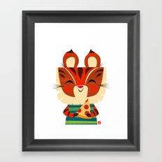 Pizza Tiger Framed Art Print