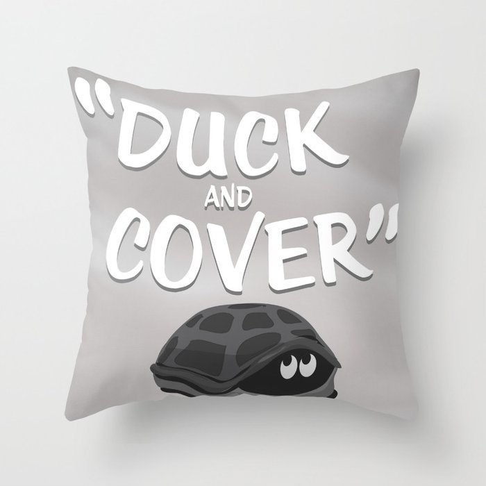 Duck and Cover Vintage Atomic Poster Throw Pillow