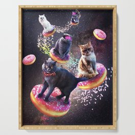 Galaxy Cat Donut - Space Cats Riding Donuts Serving Tray